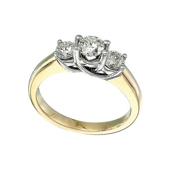 14k Yellow Gold 0.75 Ct Three Stone Trellis Diamond Ring