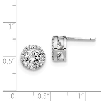 Cheryl M Sterling Silver Rhodium Plated Polished CZ Halo Post Earrings
