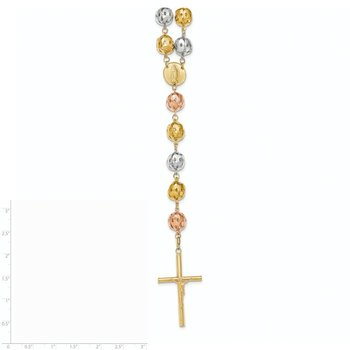 14K Tri-color 34in 9.60mm Beads Semi-solid Rosary