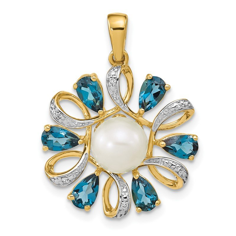 Fine Jewelry by JBD 14k Diamond and 6-7mm Button FWC Pearl/London Blue Topaz Pendant