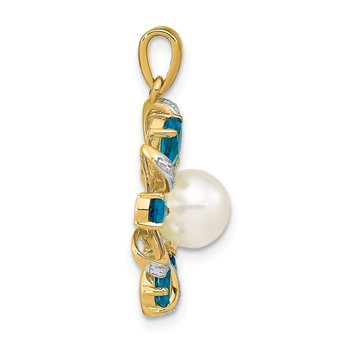 14k Diamond and 6-7mm Button FWC Pearl/London Blue Topaz Pendant