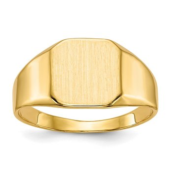 14k 10.0x10.0mm Closed Back Mens Signet Ring