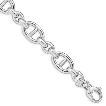 Sterling Silver Rhodium Plated Polished Link Bracelet