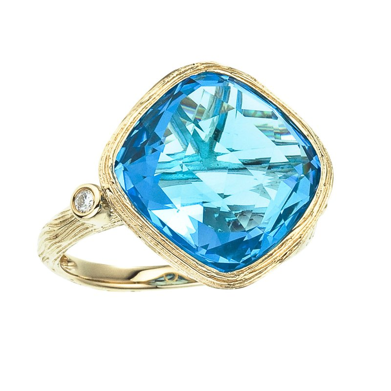 Color Merchants 14k Yellow Gold Cushion Cut Blue Topaz and Diamond Ring