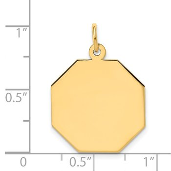 14k Plain .027 Gauge Engravable Octagonal Disc Charm