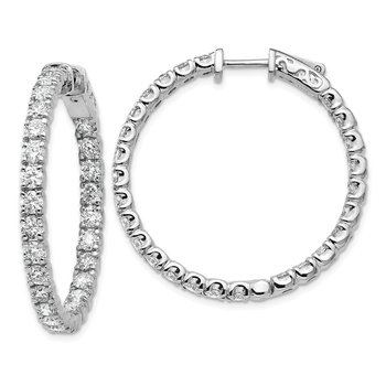 14kw True Origin Lab Grown VS/SI, D E F, Diamond Hoop with Safety Clasp