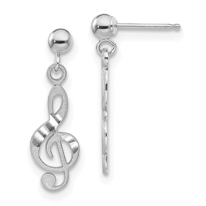 Fine Jewelry by JBD 14k White Gold Treble Clef Dangle Earrings