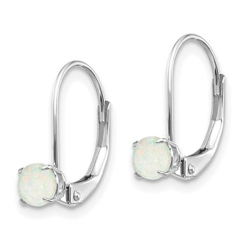 14k White Gold 4mm Round October/Opal Leverback Earrings