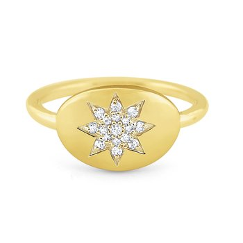 14k Gold and Diamond Starburst Signet Ring