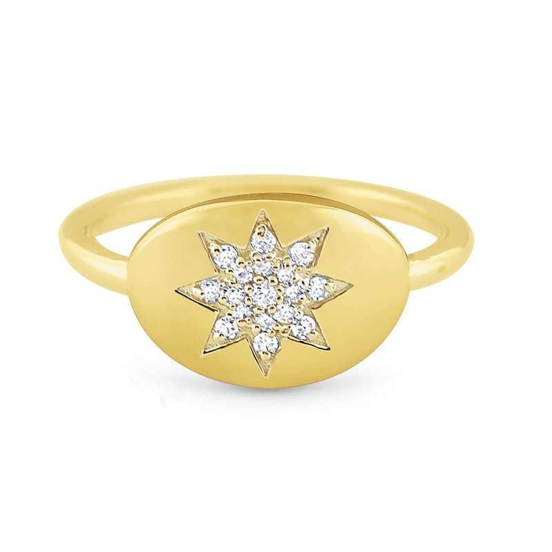 KC Designs 14k Gold and Diamond Starburst Signet Ring