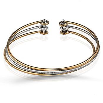 Simon G 18kt tri-color gold bangle with diamond accents, dia=0.21ct tw. Available at our Halifax store.