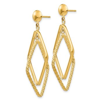 14k Polished and Textured Diamond Shaped Post Earrings