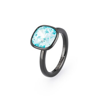 316L stainless steel, black pvd and turquoise Swarovski® Elements