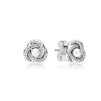 Luminous Love Knots Stud Earrings, White Crystal Pearl Clear Cz