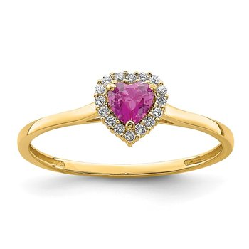 14K Heart Pink and Clear CZ Ring
