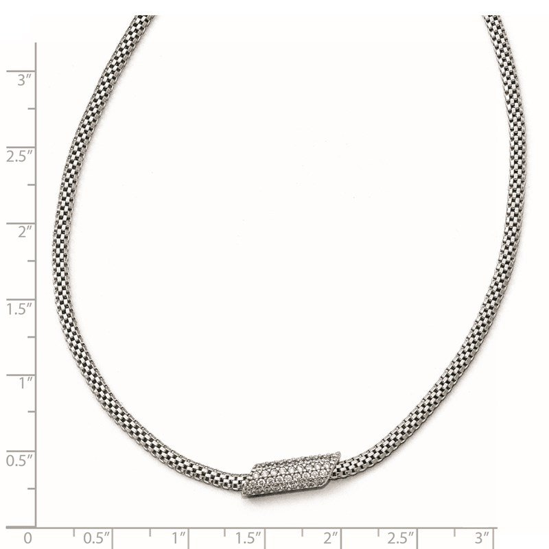Leslie's Leslie's Sterling Silver Rhodium-plated CZ with 2in ext. Necklace