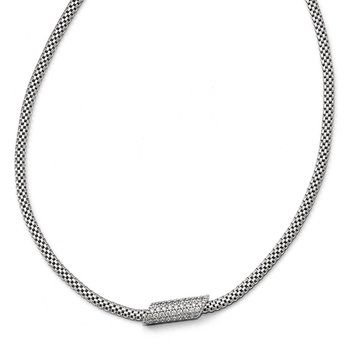 Leslie's Sterling Silver Rhodium-plated CZ with 2in ext. Necklace