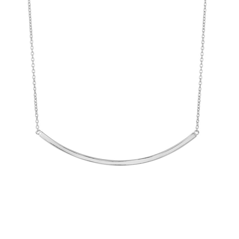 Royal Chain Silver Curved Thin Bar Necklace