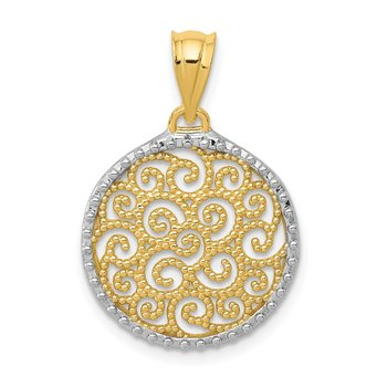 14K w/Rhodium Filigree Circle Pendant