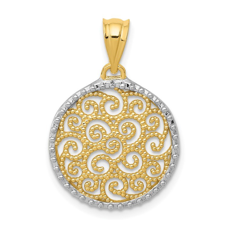 Quality Gold 14K w/Rhodium Filigree Circle Pendant