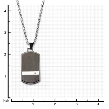 Steel Stripe with Clear CZ Black Plated Dog Tag Pendant