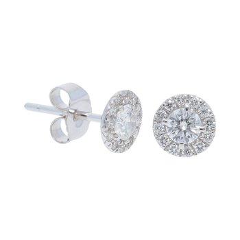 Diamond Stud with Pave Outline