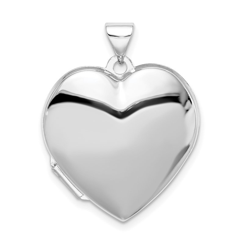 Quality Gold Sterling Silver Rhodium-plated Plain 21mm Heart Locket