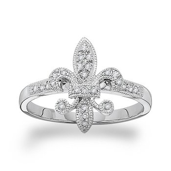 Diamond Fleur Di Lis Ring in 14k White Gold with 26 Diamonds weighing .14ct tw.