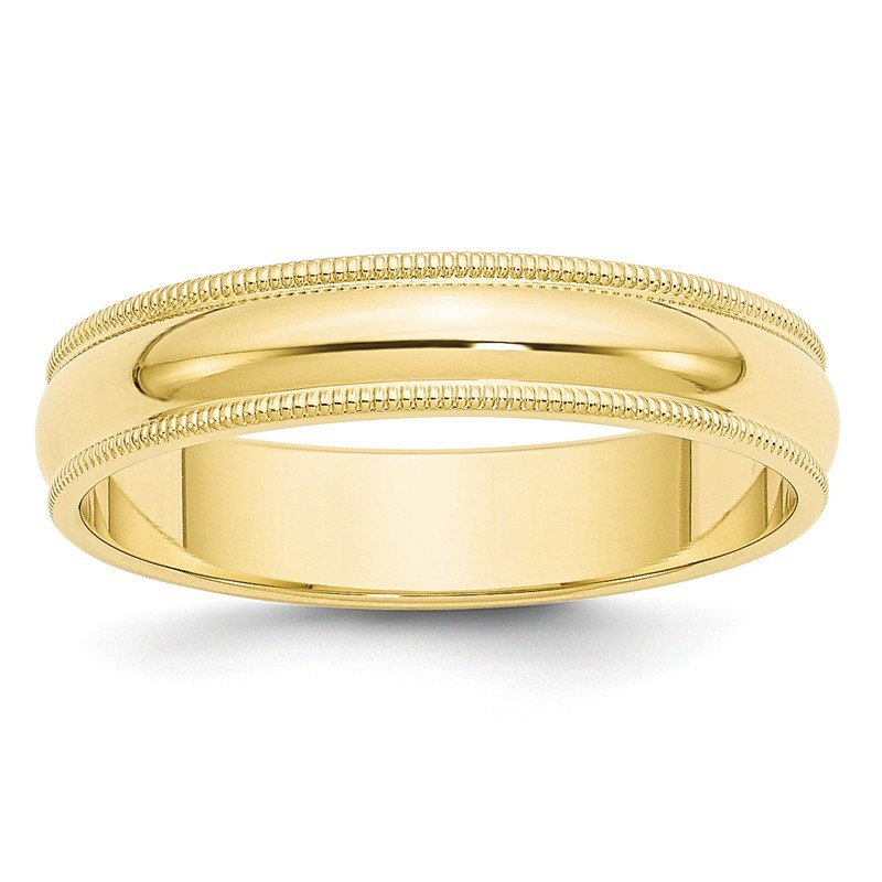 Quality Gold 10KY 5mm Milgrain Half Round Band Size 10