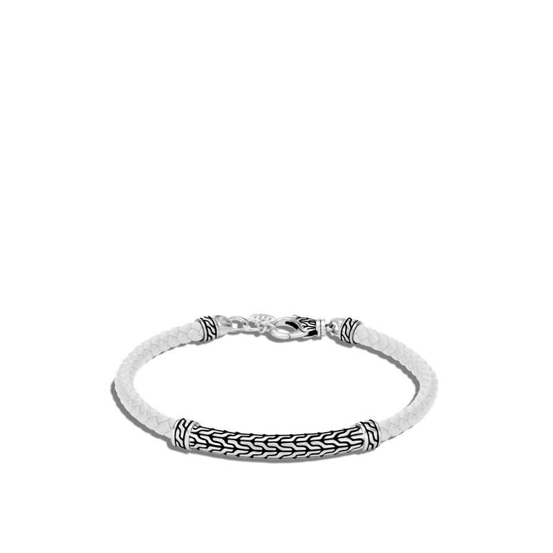 JOHN HARDY Classic Chain Station Bracelet in Silver with Leather