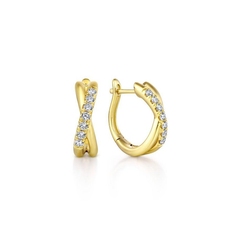Gabriel Fashion Top Picks 14K Yellow Gold Twisted 15mm Diamond Huggie Earrings