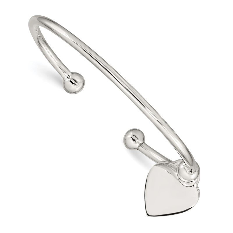 Quality Gold Sterling Silver 3mm Heart Bangle Bracelet