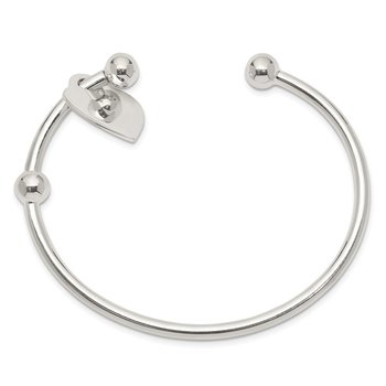 Sterling Silver 3mm Heart Bangle Bracelet