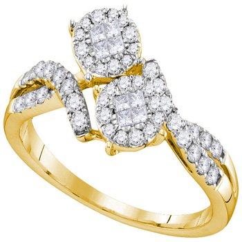 14kt Yellow Gold Womens Princess Round Diamond Soleil Cluster Bypass Bridal Wedding Engagement Ring 1/2 Cttw