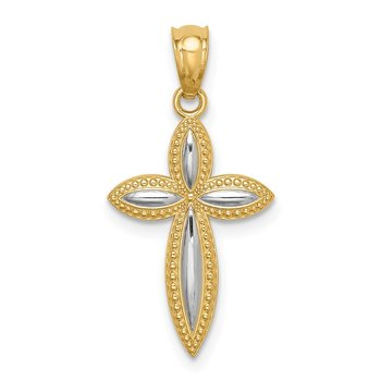 14K White Rhodium Passion Cross Pendant