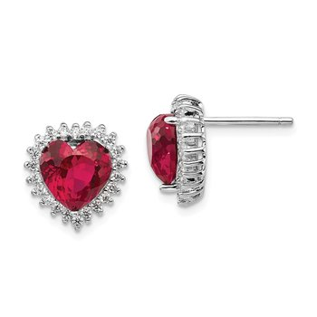 Cheryl M Sterling Silver 100-facet Lab created Ruby & CZ Heart Post Earring