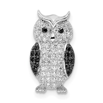 Sterling Silver Rhodium-plated Black & White CZ Owl Slide Pendant