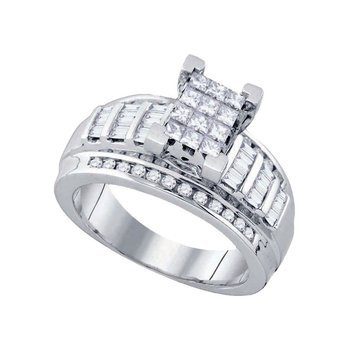 10kt White Gold Womens Princess Diamond Cindy's Dream Cluster Bridal Wedding Engagement Ring 7/8 Cttw - Size 6.5