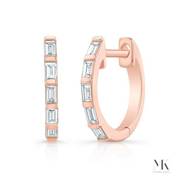 Rose Gold Baguette Huggie Hoops