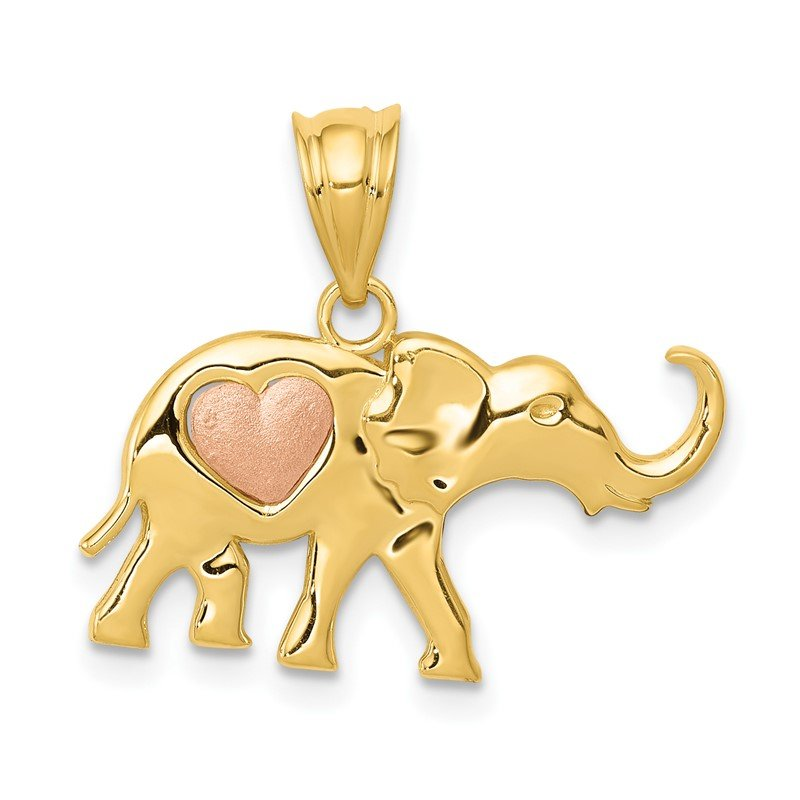 Quality Gold 14k Yellow and Rose Gold Elephant w/Heart Charm