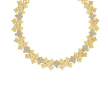 18Kt Gold Wide Link Collar With Diamonds