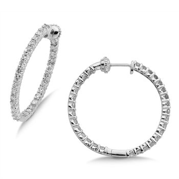 Pave set Diamond Reflection Hoops in 14k White Gold (3ct. tw.) GH/SI1-SI2
