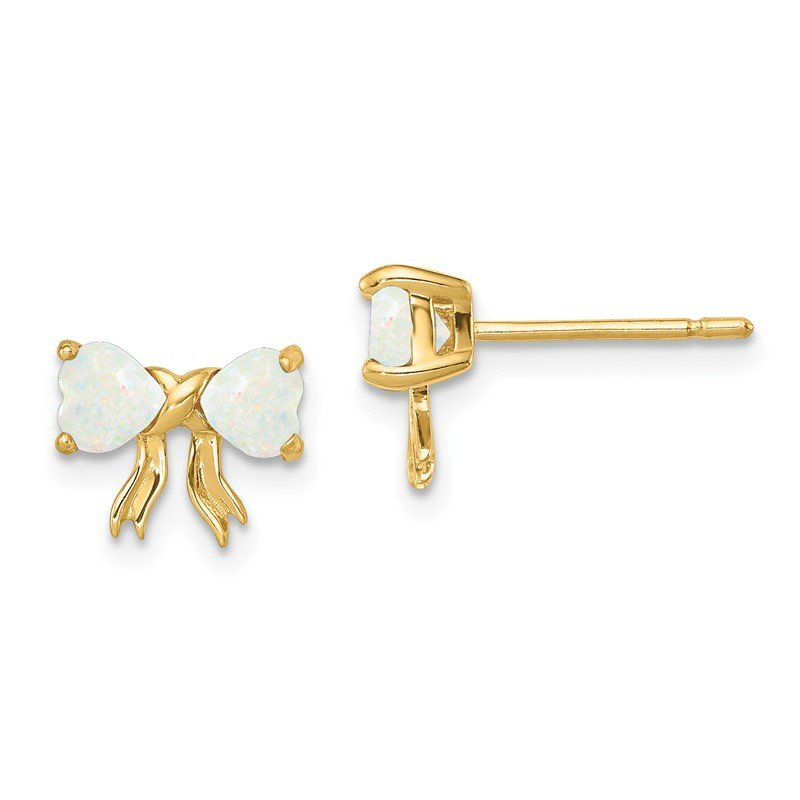 Quality Gold 14k Gold Polished Created Opal Bow Post Earrings