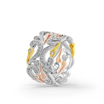 Kirk Kara 18K Tri-Tone Gold Diamond Wide Angelique Swirl Band
