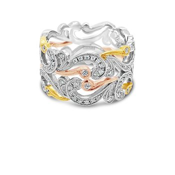 Tri-Tone Gold Diamond Wide Angelique Swirl Band
