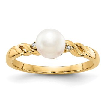 14k FW Cultured Pearl and Diamond Twist Ring