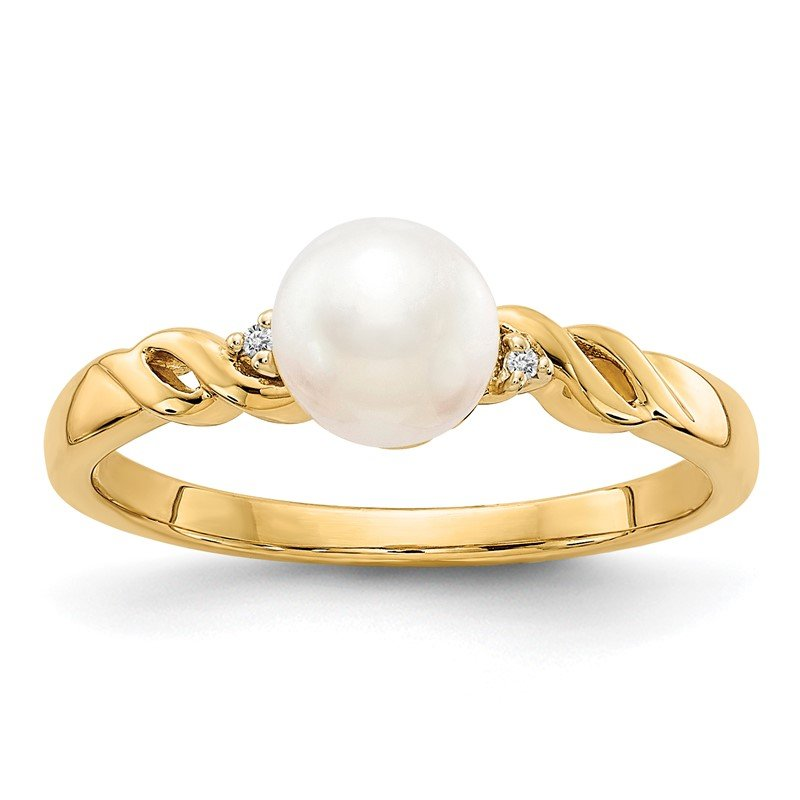 Quality Gold 14k FW Cultured Pearl and Diamond Twist Ring