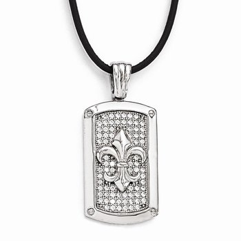 Sterling Silver & CZ Brilliant Embers Polished Fleur De Lis Necklace