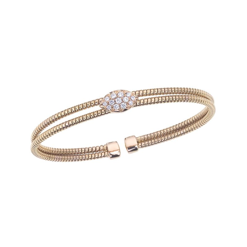 DA Gold Rose Gold 2 Row Twisted Bangle with Diamond Station
