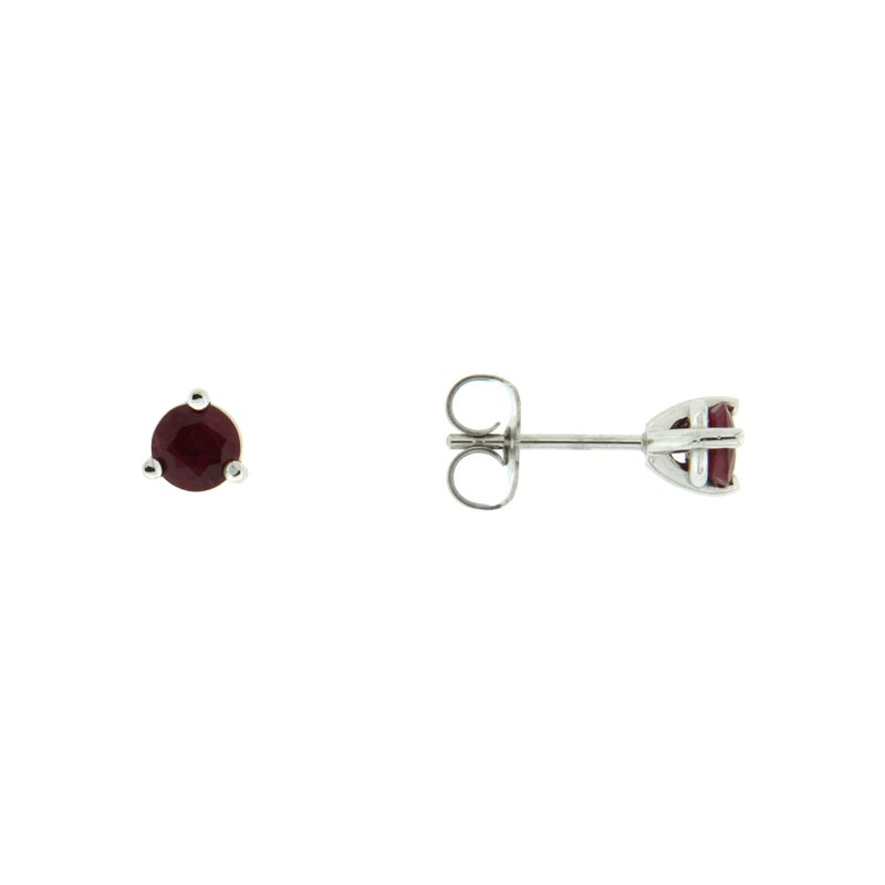 Paragon Fine Jewellery 14k White Gold Earrings with Ruby